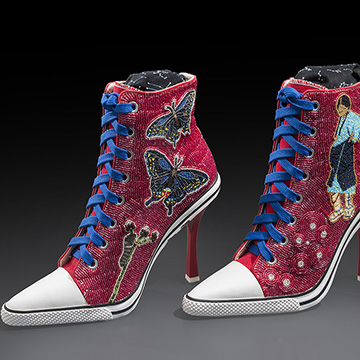 Teri Greeves, Spider Woman-Emerging Woman, 2015, Czech cut beads, stamped sterling silver, seed pearls, faceted jade, faceted garnet, rose quartz, Swarovski crystals and heeled shoes,