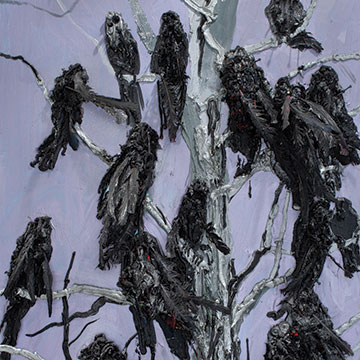 Kim Dorland, Crows, 2010, Oil, acrylic, synthetic feathers and glitter on wood panel