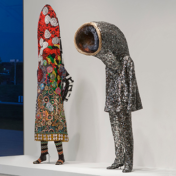 Nick Cave (Left), Soundsuit, 2005, Mixed media, (Right) Nick Cave, Soundsuit, 2011, Mixed media