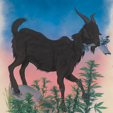 Davin Watne, Nanny Goat, 2006, Gouache and spray paint on paper