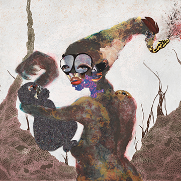Wangechi Mutu, Second Born, 2013, 24 karat gold, collagraph, relief, digital printing, collage and hand coloring
