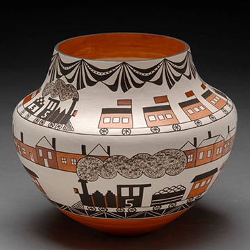 Barbara and Joseph Cerno, Train Pot, 2006, Clay