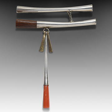 Charles Loloma, Brooch, 1965, Silver, gold, ironwood and coral
