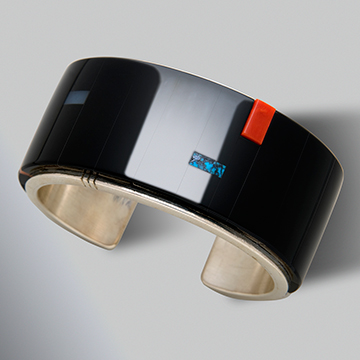Richard Chavez, Bracelet, 2007, Sterling silver, black jade, coral, dolomite and turquoise