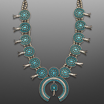Edith Tsabetsaye, Zuni Needlepoint Necklace, 1973, Silver, turquoise.