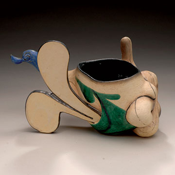 Malcolm Mobutu Smith, MocheSpoke Cloud Cup, 2005, Thrown and altered multi-fired porcelaneous-stoneware, slip and glaze