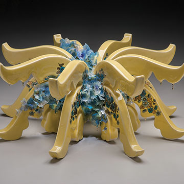 Rain Harris, Bloom, 2011, Porcelain, resin and silk flowers