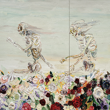Allison Schulnik, Skipping Skeletons, 2008, Oil on canvas