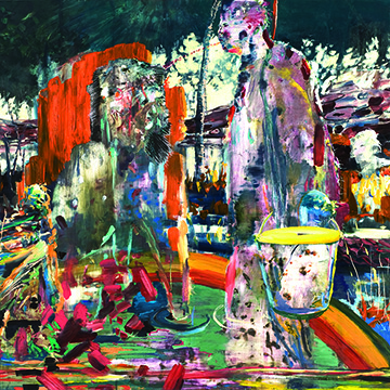 Annie Lapin, The You Fountain, 2008, Mixed media on panel, Collection Nerman Museum of Contemporary Art,