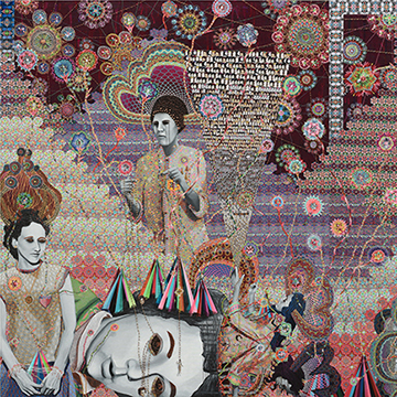 Asad Faulwell, Les Femmes D Alger 52, 2014-2015 Acrylic, pins, and photo collage on canvas,