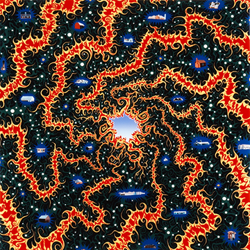 Fred Tomaselli, A Cyclone of Paradises, 2001, Acrylic, photographs and resin on wood panel