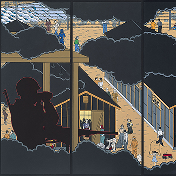 Roger Shimomura, American Infamy, 2006, Acrylic on canvas panels