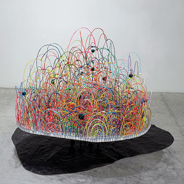 Mindy Shapero, Black balled; Once stuck in the circle trap, you have many choices, one of them is to be black balled until you're no longer able to stand and you are completely out of yourself, on your way to becoming a floating monster head, 2005, Paper, steel, wood, foam, wire, epoxy and acrylic