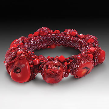 Sherry Leedy, Red Coral Bracelet, 2006, Coral, glass seed beads and round peyote stitch