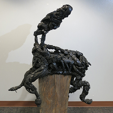 Katie Dallam, Tired Beast, 2014, Recycled tire rubber