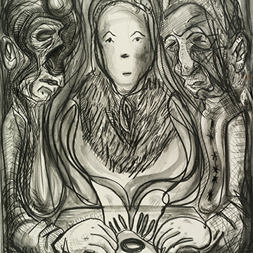 Nicole Eisenman, Ouija, 2014, Charcoal, ink and graphite on paper