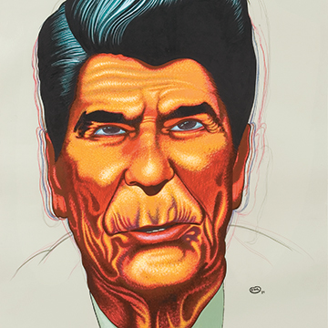 Peter Saul, Untitled (Reagan), 1984, Acrylic and colored pencil on paper